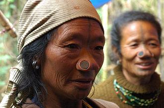 Ziro - Apatani tribal women in Hija Village, Ziro.