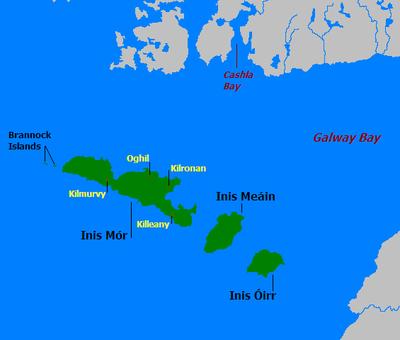 Les Îles d'Aran, Inisheer est ici appelée Inis Óirr.