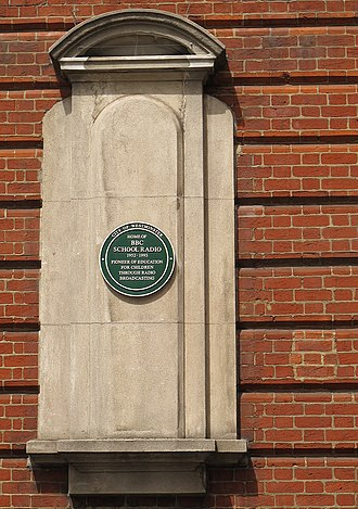 BBC School Radio - Green plaque on a building in Portland Place, recording its former use as the home of BBC School Radio broadcasts.