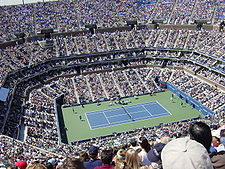 A tennis stadium pack with fans watching a grass court.