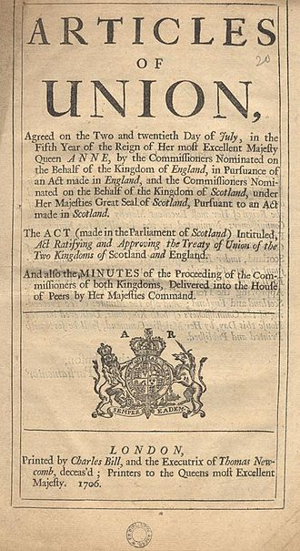 History of the formation of the United Kingdom - A published version of the Articles of Union, 1707