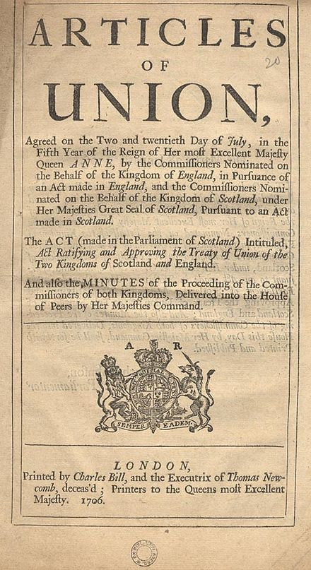 A published version of the Articles of Union, agreement that led to the creation of the Kingdom of Great Britain in 1707 Articles of Union.jpg