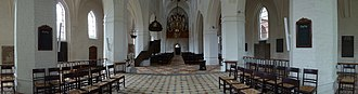Church of Our Lady, Assens - Interior panorama showing the pulpit