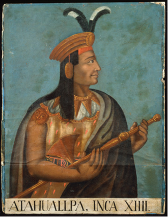 Atahualpa - 16th century portrait of Atahualpa by an unknown artist from the Cusco School Currently located in the Ethnological Museum of Berlin, Germany