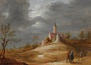 Figures in a landscape with a castle beyond