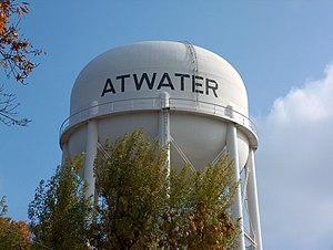 Atwater, California - Water tower in the city