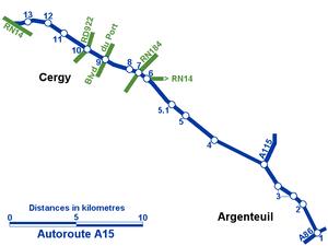A15 autoroute - Image: Autoroute A15 plan