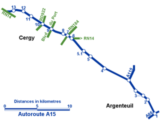 A15 autoroute controlled-access highway from Gennevilliers to Cergy-Pontoise