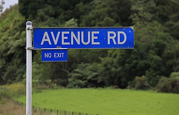 Avenue Road street sign, in Taranaki.jpg