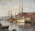 Axel Johansen - Parti fra Frederiksholms Kanal med Monsunen liggende ved kaj - 1930.png