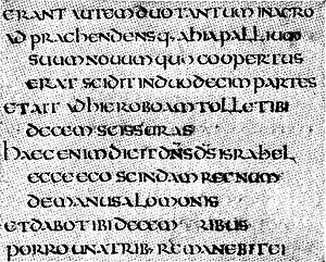 Bible translations into Latin - Part of a page of a 9th-century Biblia Vulgata, British Library  Add. Ms. 37777