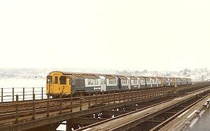 Island Line, Isle of Wight - BR Class 485 train traversing Ryde Pier