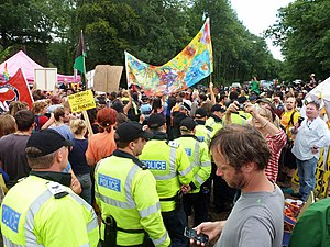 Hydraulic fracturing in the United Kingdom - 18 August 2013: Fracking protest south of Balcombe, Sussex, England.