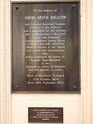 David Keith Ballow - Plaque on Ballow Chambers, Wickham Terrace, Brisbane, 2013