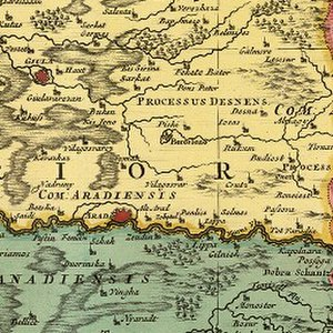Arad, Romania - Arad on an 18th-century map