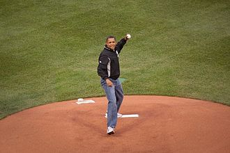 2009 Major League Baseball All-Star Game - President Barack Obama throwing out the ceremonial first pitch.