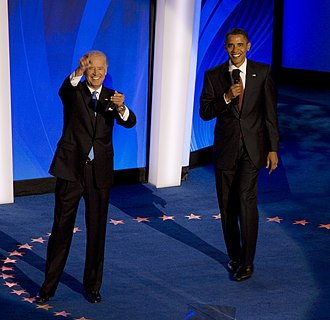 Joe Biden 2008 presidential campaign - Obama and Biden appear together for the first time after accepting their party's nominations during the third night of the 2008 Democratic National Convention in Denver, Colorado.