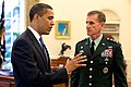 Barack Obama meets with Stanley A. McChrystal in the Oval Office 2009-05-19.jpg