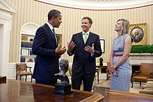 Barack Obama meets with Will Ferrell and Viveca Paulin, 2011.jpg