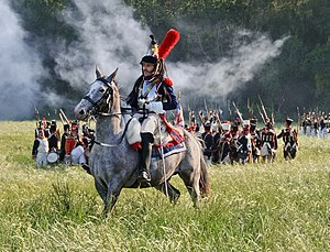 French cuirassier during the re-enactment of t...