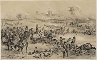 Manuel Marques de Sousa, Count of Porto Alegre - Marques de Sousa (on horseback pointing his finger) leading the Brazilian 1st division during the Battle of Caseros