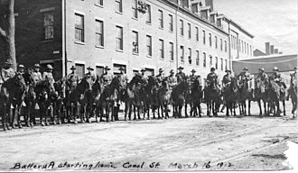 1912 Lawrence textile strike - The Massachusetts National Guard mounted on horses during the strike.