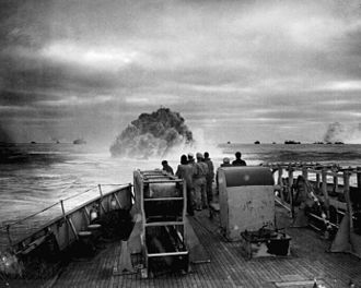 German submarine U-175 - A view from the US Coast Guard cutter Spencer as it depth charged U-175