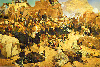 Second Anglo-Afghan War - 92nd Highlanders at Kandahar. Oil by Richard Caton Woodville Jr.