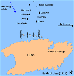 Battle of Lissa 1811 Map.png