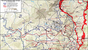 99th Infantry Division (United States) - Map depicting the northern shoulder of the Battle of the Bulge, or Ardennes Offensive, in which the German Sixth Panzer Army attacked the United States' 99th Infantry Division, but could not dislodge them. The 99th Division's effective defense of the sector prevented the Germans from accessing the valuable road network and considerably slowed their timetable, allowing the Allies to bring up additional reinforcements.