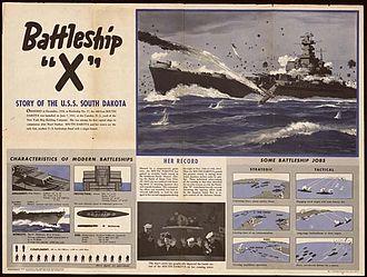 "USS South Dakota (BB-57) - USS South Dakota, also known as ""Battleship X,"" ""Old Nameless,"" ""Sodak,"" and the ""Black Prince."""