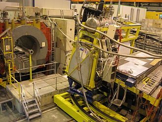 Super Proton Synchrotron - Test beamline delivered from the SPS. In photo 20 GeV positrons are used to calibrate the Alpha Magnetic Spectrometer.