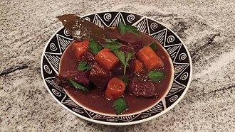 Beef bourguignon - A dish of bœuf bourguignon
