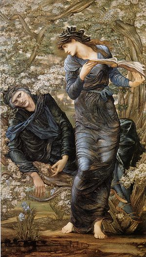 Lady of the Lake - Nimue, the Lady of the Lake, shown holding the infatuated Merlin trapped and reading from a book of spells, in The Beguiling of Merlin by Edward Burne-Jones (1874)