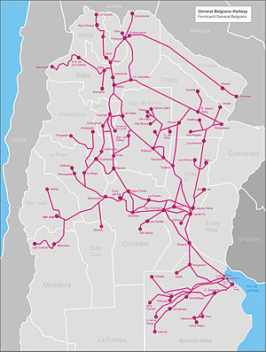 Railway nationalisation in Argentina - Image: Belgrano railw map