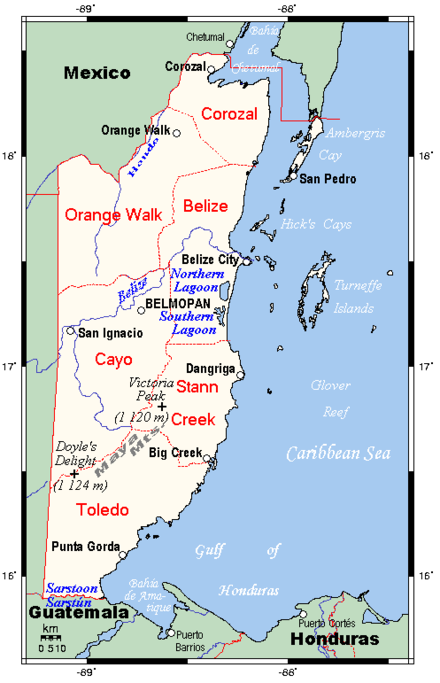 A map of Belize Belizemap3.gif