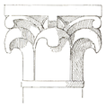 Belmont Abbey Chapter House Capital 3 Camille Enlart 1921.png