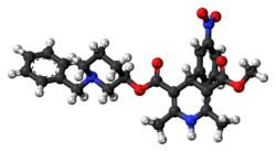 Ball-and-stick model of the benidipine molecule