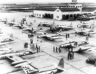 Bergstrom Air Force Base - 27th SFW Republic Aviation F-84E Thunderjets on the ramp at Bergstrom AFB just before the deployment to Furstenfeldbruck AB.