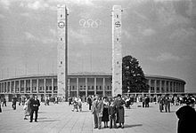 The Olympiastadion hosting its first major athletics event: the 1936 Summer Olympics