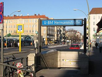 Berlin Hermannstraße station - U-Bahn entrance; S-Bahn entrances in rear