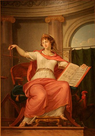 "Ius - A personification of justice by Bernard d'Agesci. La justice  holds scales in one hand and in the other hand a book with ""Dieu, la Loi, et le Roi"" (God, the Law and the King) on one page and the Golden rule on the other page."