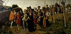 Bernardo Celentano - Tasso, Starting to show Madness at Bisaccia (1863) now at the Galleria Nazionale d'Arte Moderna, Rome.