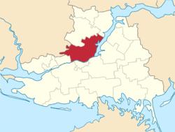 Vị trí của huyện Beryslavskyi trong tỉnh Kherson