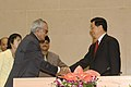 Bhairon Singh Shekhawat shaking hands with the President of the People's Republic of China, Mr. Hu Jintao, at a function, organised by the India Council for World Affairs, in New Delhi on November 22, 2006.jpg