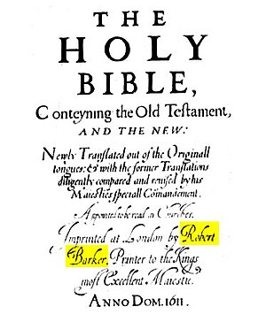 Robert Barker (printer) - Reproduction of part of the title-page of the first edition of the King James Bible highlighting Robert Barker