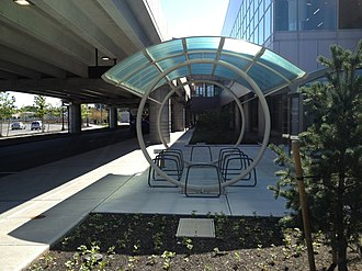 East Boston Greenway - Bicycle parking at Logan Rental Car Center, accessible from the Greenway