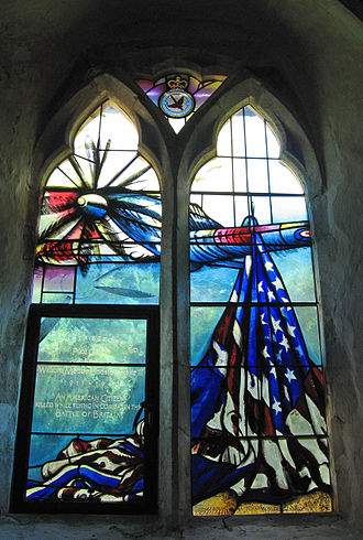 """Billy Fiske - William Meade Lindsley """"Billy"""" Fiske III stained glass window at Boxgrove Priory"""