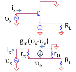 Buffer amplifier - Figure 4: Top: BJT voltage follower Bottom: Small-signal, low-frequency equivalent circuit using hybrid-pi model