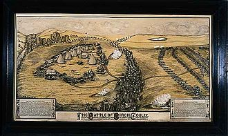 Dakota War of 1862 - 1912 lithograph depicting the 1862 Battle of Birch Coulee, by Paul G. Biersach (1845-1927)